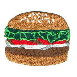 Iron on embroidered hamburger with lettuce tomato and onions patch