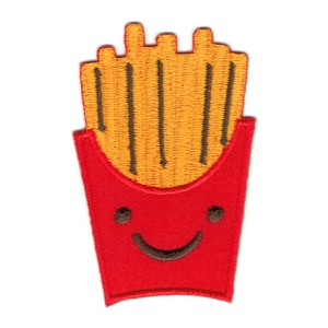 Iron on embroidered traditional french fries patch with smiley face on the front