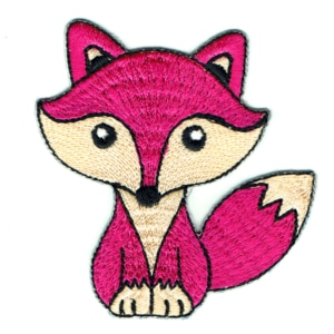 Iron on embroidered cute hot pink fox patch
