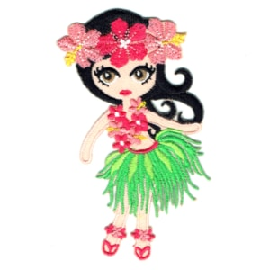 Iron on embroidered hula girl with green grass skirt and flower patch