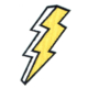 Iron on embroidered white and yellow lightning bolt patch