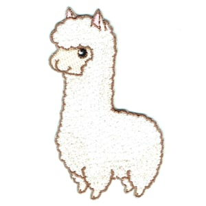 Iron on embroidered cute smiling llama patch