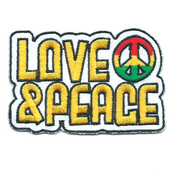 Rectangular iron on embroidered love and peace patch with peace symbol in rasta colours