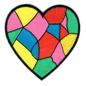 Iron on embroidered multicoloured patchwork heart shaped patch