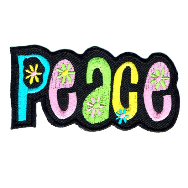 Iron on embroidered peace word patch embroidered with vibrant colours