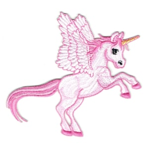 Iron on embroidered beautiful pink unicorn patch with wings and long tail