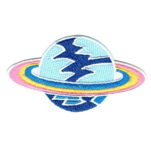 Iron on embroidered light blue plant patch with pink, yellow and blue rings