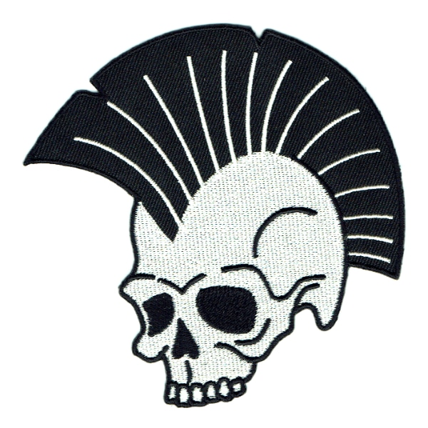 Iron on embroidered skull patch with large mow hawk
