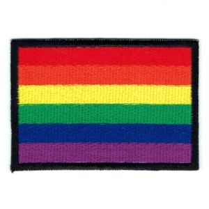 Rectangular iron on embroidered rainbow flag patch