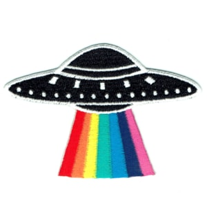 Iron on embroidered black ufo patch with rainbow laser beam
