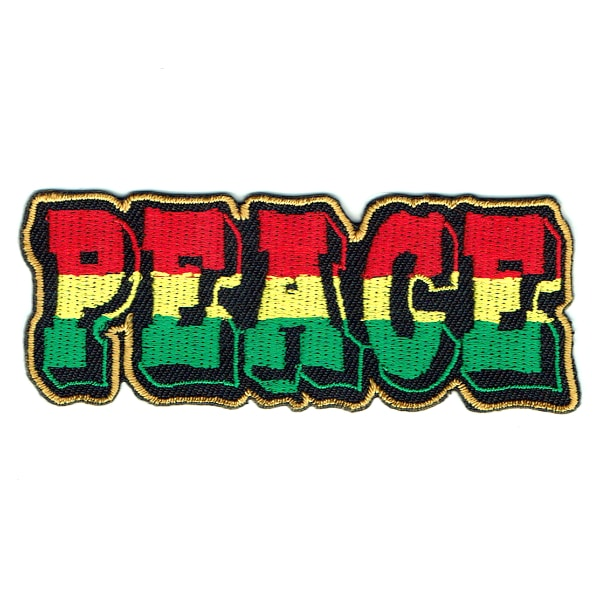 Rectangular iron on embroidered patch of the word peace in rasta colours