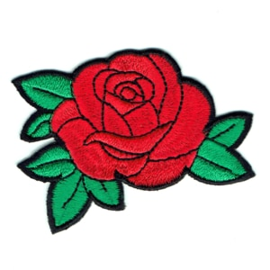 Iron on embroidered red rose flower with green leaves patch