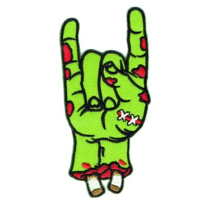 Iron on embroidered severed green zombie hand patch making rock on symbol