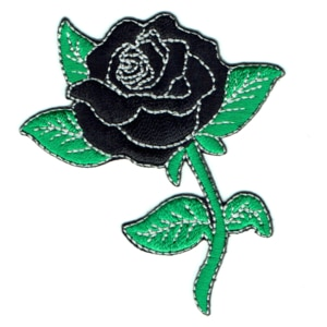 Iron on embroidered black rose patch with green leaves