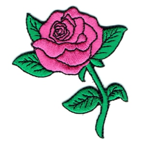Iron on embroidered pink rose patch with green leaves