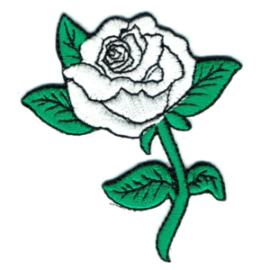 Iron embroidered white rose patch with green leaves