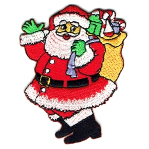 Iron on embroidered patch of santa waving and holding a sack full of presents