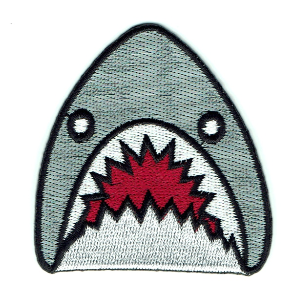 Iron on embroidered grey shark head patch with sharp teeth