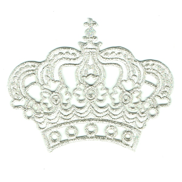 Iron on embroidered silver crown patch