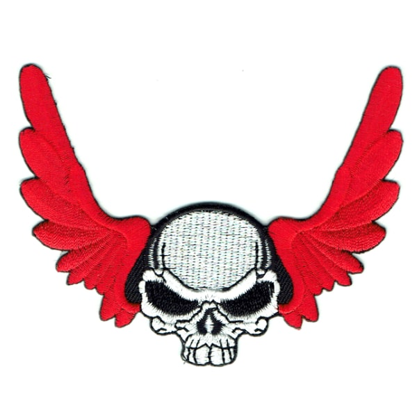 Iron on embroidered white skull patch with red wings