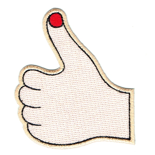 Iron on embroidered patch of a hand making the thumbs up sign with red nail polish on the thumb