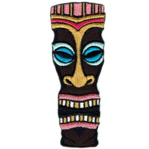 Iron on embroidered polynesian style tiki totem head patch
