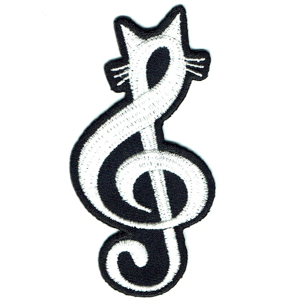 Black and white iron on embroidered treble clef patch with kitty ears and whiskers at the top