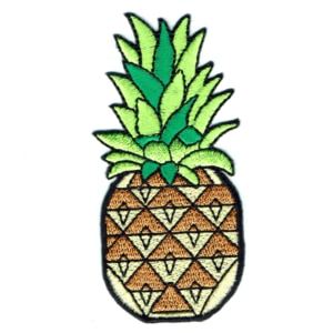 Iron on embroidered vibrant tropical style pineapple patch