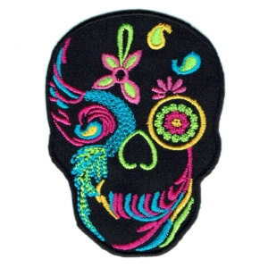 Iron on embroidered skull patch detailed with vibrant colours