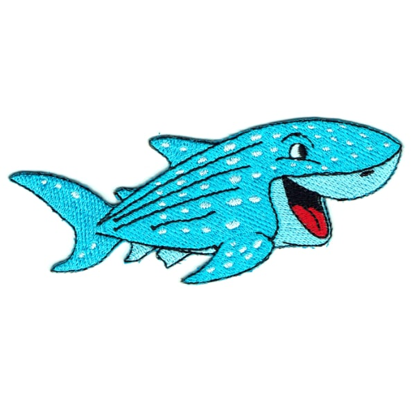 Iron on embroidered smiling blue shark patch