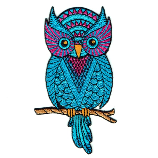 Iron on embroidered wise blue owl patch on a branch