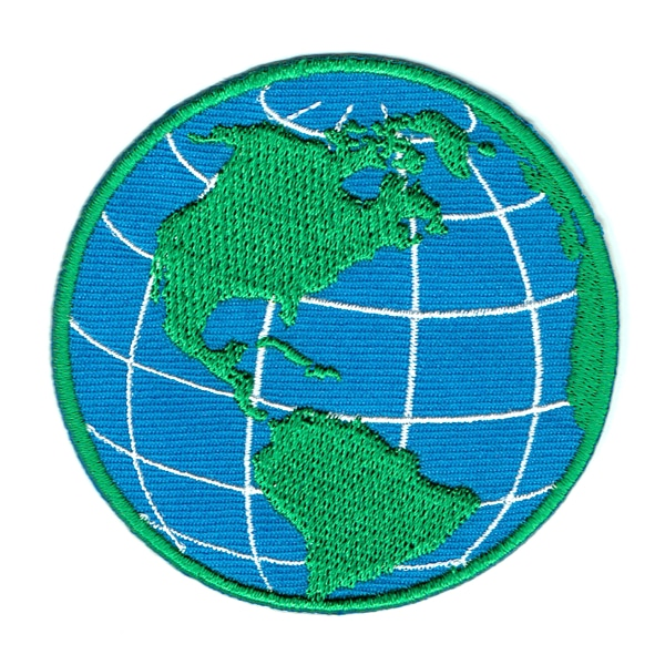 Round iron on embroidered blue and green world globe map patch