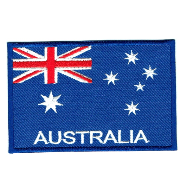 Large embroidered iron on national flag of Australia with name text.