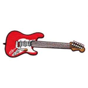 Iron on embroidered red electric guitar iron on patch