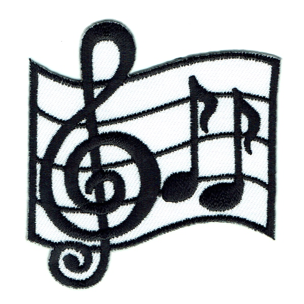 Iron on embroidered white and black music notes patch