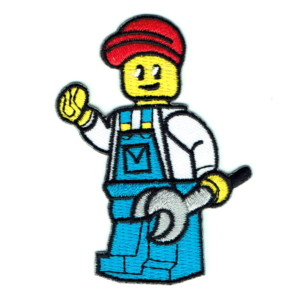 Iron On Lego style man with spanner wearing blue overalls and red hat