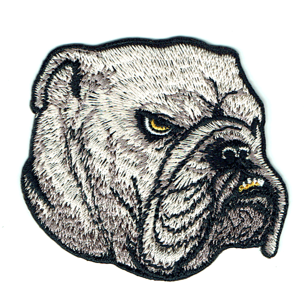 Grey bulldog head iron on embroidered patch