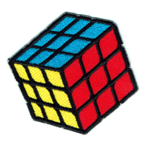 Rubix cube iron on embroidered patch showing blue, yellow and red sides