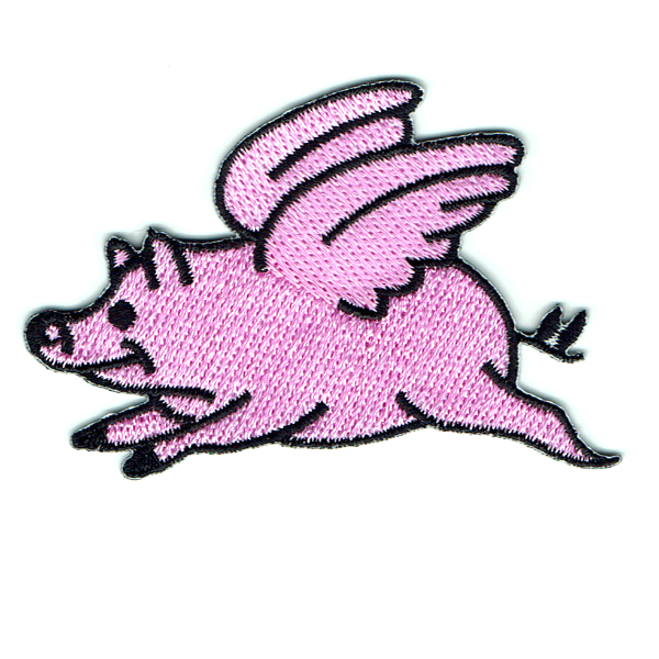 Embroidered pink pig with wings iron on patch
