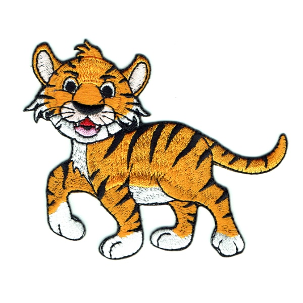 Happy embroidered orange wild tiger iron on patch