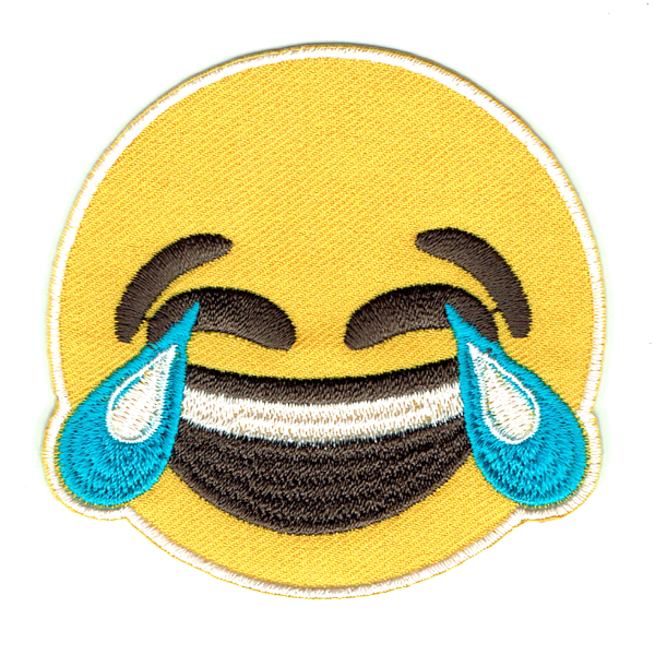 LOL embroidered emoji iron on patch set on yellow fabric twill