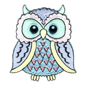 Pastel coloured embroidered iron on owl patch