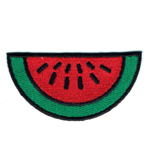 Embroidered patch of a watermelon slice in red, green and black with iron on backing