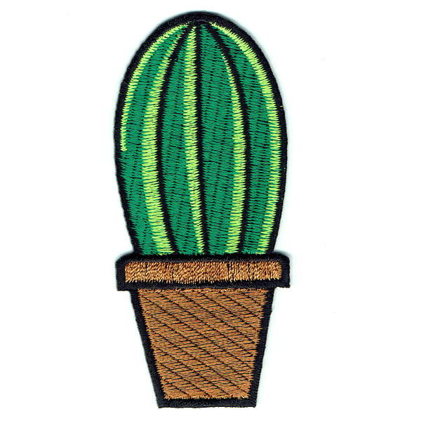 Embroidered green barrel cactus in a brown pot with iron on adhesive backing