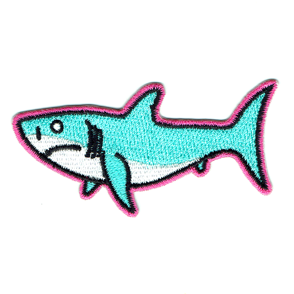 Embroidered light blue iron on shark patch with hot pink stitched edge