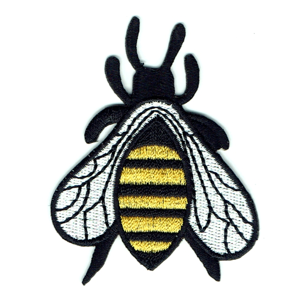 Embroidered black and yellow iron on honey bee patch with white wings