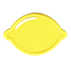 Bright yellow embroidered lemon iron on patch