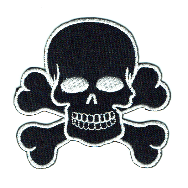 Skull and cross bones iron on patches made from black twill and white stitching