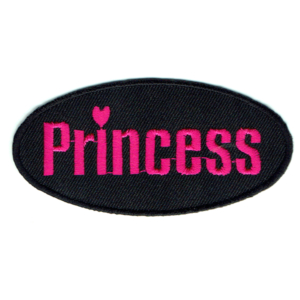 Black oval iron on patch with the word princess embroidered in hot pink stitching