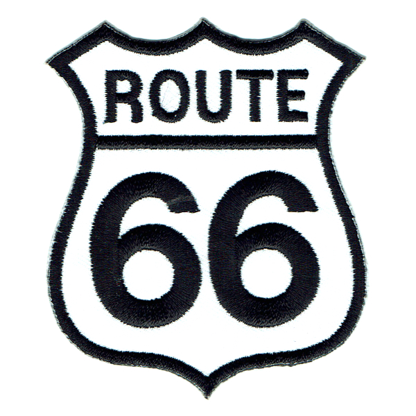 Iron on Patch of a black and white Route 66 sign